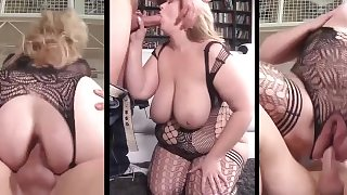 Massive blonde with huge udders Lila Lovely anal & blowjob on three screens